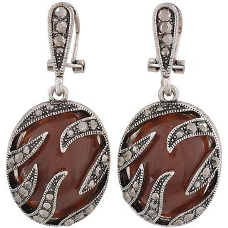 Maayra Suave Brown Silver Designer College Clip On Earrings
