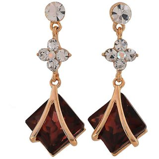 Maayra Dashing Wine Bronze Stone Crystals Party Drop Earrings