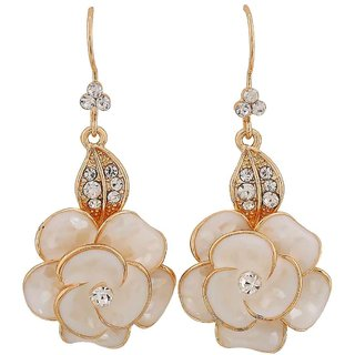 Maayra Superb White Gold Stone Crystals Casualwear Dangler Earrings