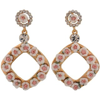 Maayra Charming White Pink Indian Ethnic College Drop Earrings