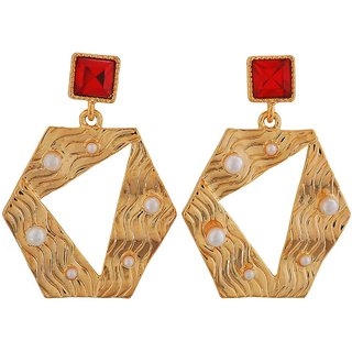 Maayra Modern Red Gold Stone Crystals Get-Together Drop Earrings