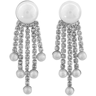 Maayra Special White Designer Casualwear Drop Earrings