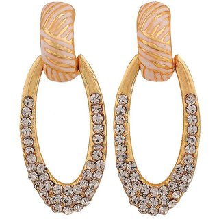 Maayra Graceful Off-White Gold Stone Crystals Get-Together Drop Earrings