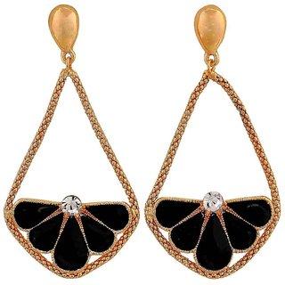 Maayra Trendy Black Gold Designer College Tassel Earrings