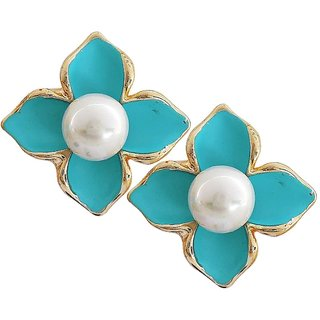 Maayra Suave Blue White Pearl College Clip On Earrings