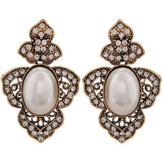 Maayra Sexy White Gold Pearl Get-Together Drop Earrings