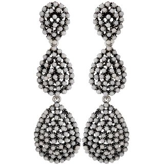 Maayra Modern White Pearl Get-Together Drop Earrings