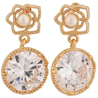 Maayra Awesome Gold Stone Crystals Party Drop Earrings