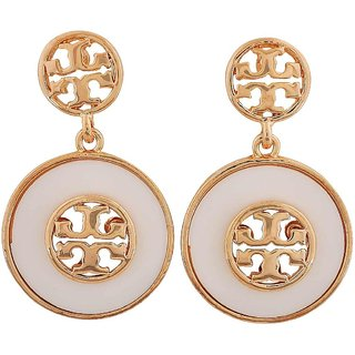 Maayra Simple White Gold Indian Ethnic Get-Together Drop Earrings