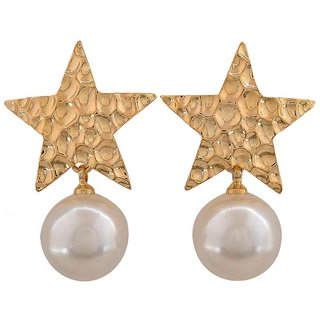 Maayra Adorable White Gold Pearl College Drop Earrings