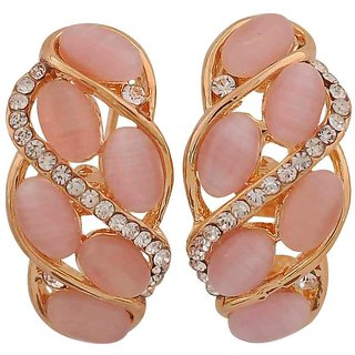 Maayra Sensual Pink Gold Designer Casualwear Clip On Earrings