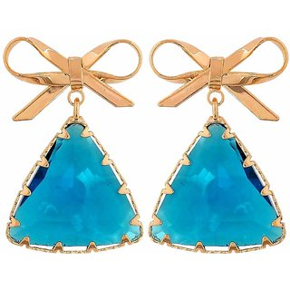 Maayra Grand Blue Gold Stone Crystals Get-Together Drop Earrings