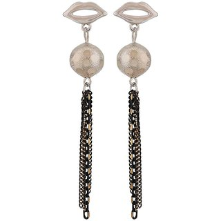 Maayra Exquisite Black Silver Designer Casualwear Tassel Earrings