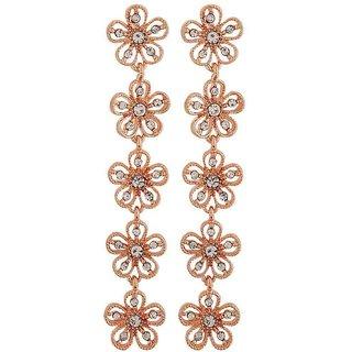 Maayra Trendy Bronze Stone Crystals College Tassel Earrings