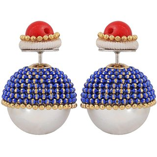 Maayra Bright Red Blue Pearl Cocktail Stud Earrings