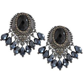 Maayra Classy Black Blue Stone Crystals Casualwear Drop Earrings