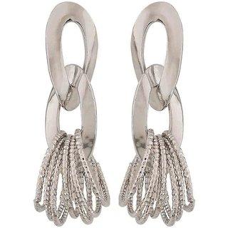 Maayra Dashing Silver Designer Party Drop Earrings