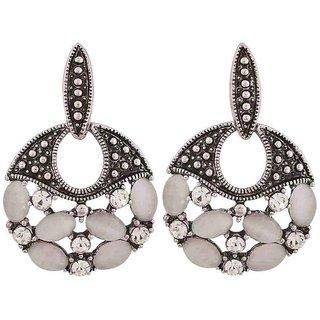 Maayra Superb Silver Stone Crystals Casualwear Drop Earrings