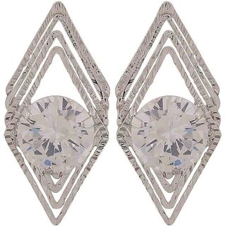 Maayra Modern Silver Stone Crystals Get-Together Drop Earrings