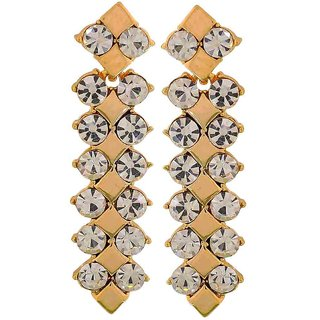 Maayra Amazing Gold Stone Crystals College Drop Earrings