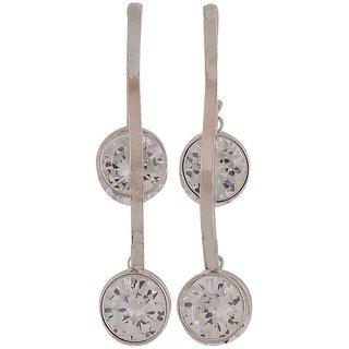 Maayra Sober Silver Stone Crystals Casualwear Drop Earrings