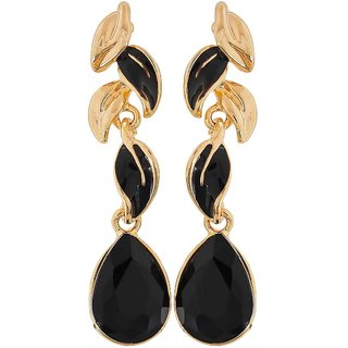 Maayra Gorgeous Black Stone Crystals Get-Together Drop Earrings