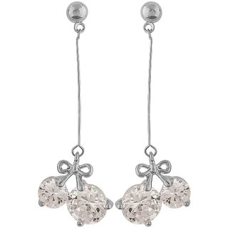 Maayra Sexy Silver Stone Crystals Cocktail Tassel Earrings