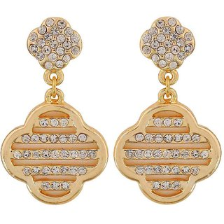Maayra Unique Off-White Gold Stone Crystals Casualwear Drop Earrings