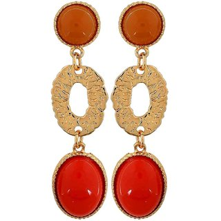 Maayra Terrific Orange Yellow Designer College Drop Earrings