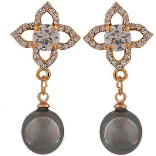 Maayra Cute Grey Gold Stone Crystals Cocktail Drop Earrings