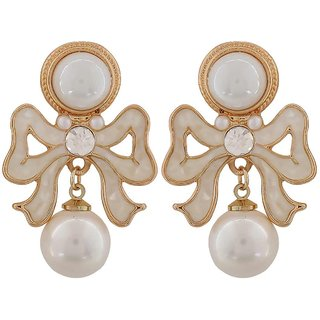Maayra Adorable White Off-White Pearl College Drop Earrings