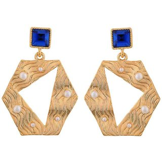 Maayra Darling Blue Gold Designer Cocktail Drop Earrings
