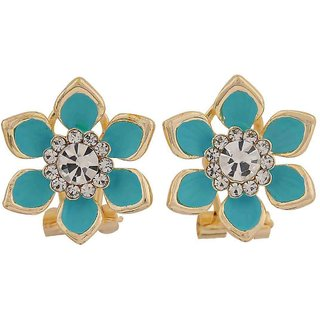 Maayra Fantastic Blue Stone Crystals Party Clip On Earrings