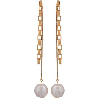Maayra Smashing White Gold Pearl Casualwear Tassel Earrings