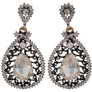 Maayra Sizzling Silver Kundan College Drop Earrings