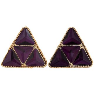 Maayra Stunning Purple Gold Stone Crystals Party Clip On Earrings