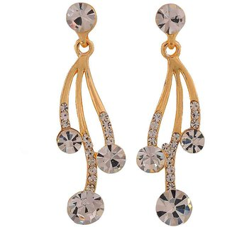 Maayra Classic Gold Stone Crystals Party Drop Earrings