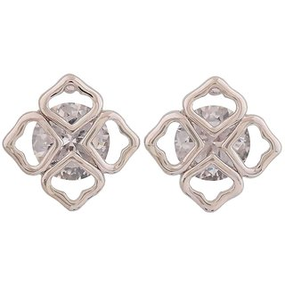 Maayra Stylish Silver American Diamond Get-Together Stud Earrings