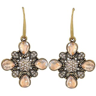 Maayra Exclusive Yellow Silver Kundan Casualwear Dangler Earrings