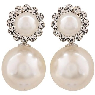 Maayra Terrific White Pearl College Drop Earrings