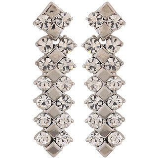 Maayra Fabulous Silver Stone Crystals Cocktail Drop Earrings