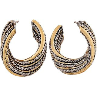Maayra Great Gold Grey Designer Cocktail Drop Earrings