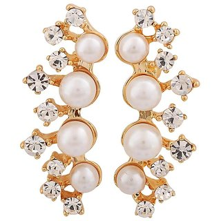 Maayra Beautiful White Gold Indian Ethnic College Drop Earrings