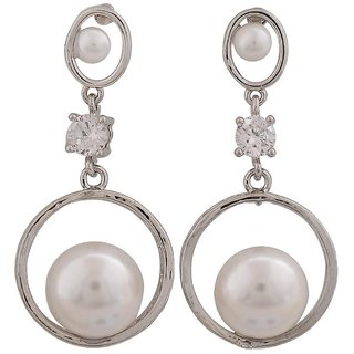 Maayra Exquisite White Silver Pearl Cocktail Drop Earrings