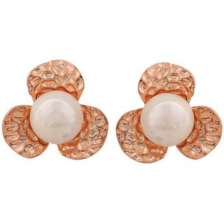 Maayra Trendy White Bronze Pearl Get-Together Clip On Earrings