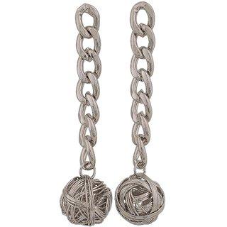 Maayra Cool Silver Designer Party Tassel Earrings