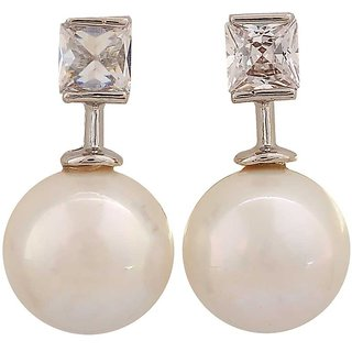 Maayra Classy White Pearl Cocktail Drop Earrings