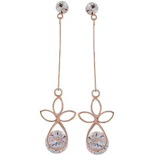 Maayra Fabulous Gold Stone Crystals Cocktail Tassel Earrings