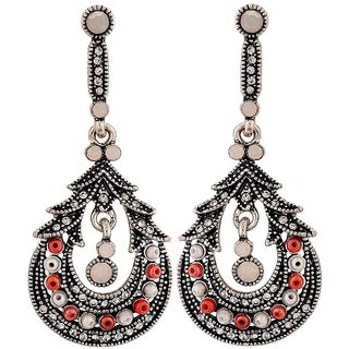 Maayra Fab Pink White Pearl Get-Together Drop Earrings