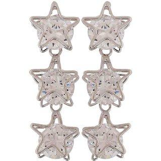 Maayra Smashing Silver Stone Crystals Casualwear Drop Earrings